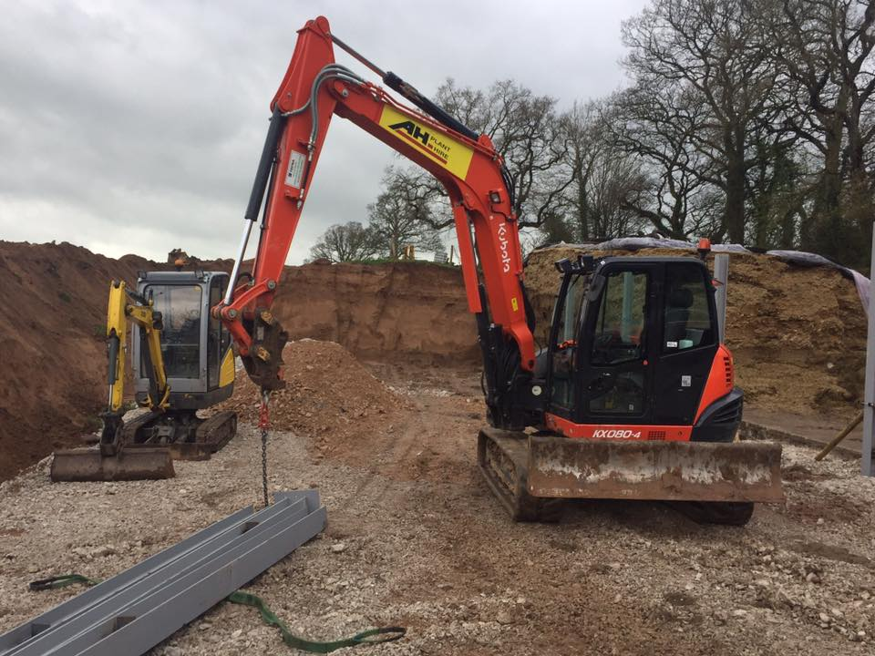 Digger on hire in the Wrexham area, another happy customer